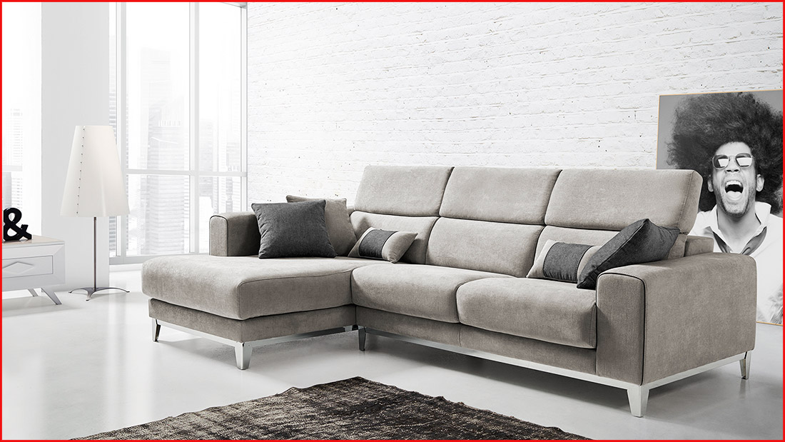 Sof chaise longue tapizado 3 plazas sofausto for Sofa tres plazas chaise longue